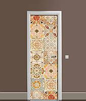 Вінілова 3Д наклейка на двері Теплий Орнамент самоклеюча плівка ПВХ візерунки Абстракція Бежевий 650*2000 мм