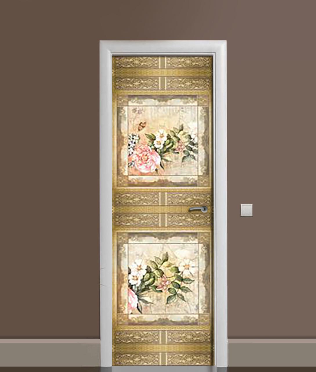 Вінілова 3Д наклейка на двері Вантажний Візерунок Птахи самоклеюча плівка ПВХ квіти Бежевий 650*2000 мм