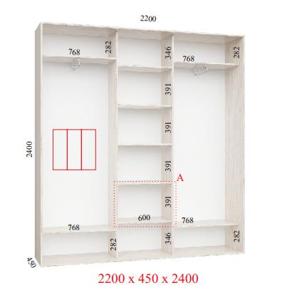 Шкафы-купе трех дверный Феникс «Стандарт» 450х2400 (ГхВ мм.), фото 2