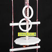 Детский верёвочный набор для шведской стенки набор подвесной гимнастический «ЭЛИТ» с тарзанкой, белый