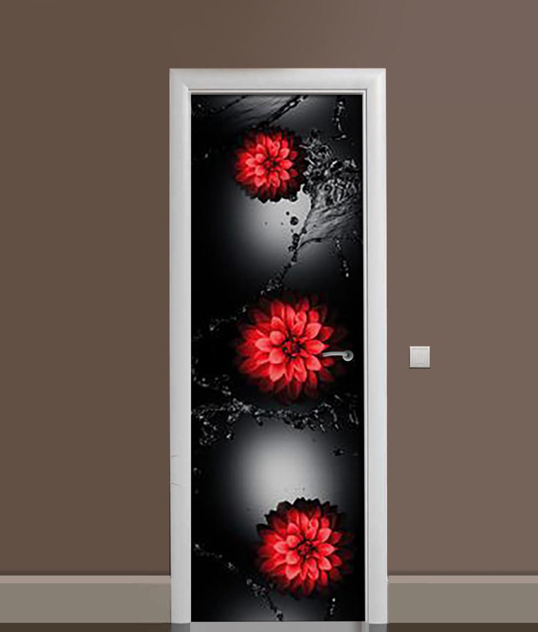Виниловая 3Д наклейка на дверь Красные цветы Вода самоклеющаяся пленка ПВХ брызги на черном фоне 650*2000 мм