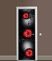 Виниловая 3Д наклейка на дверь Красные цветы Вода самоклеющаяся пленка ПВХ брызги на черном фоне 650*2000 мм, фото 1