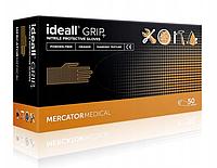 Супер прочные оранжевые нитриловые перчатки Ideall GRIP + L (8-9) Mercator Medical (50шт), фото 1