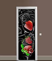 Виниловая 3Д наклейка на дверь Ежевика Клубника Шелк самоклеющаяся пленка ПВХ лесные Ягоды Черный 650*2000 мм