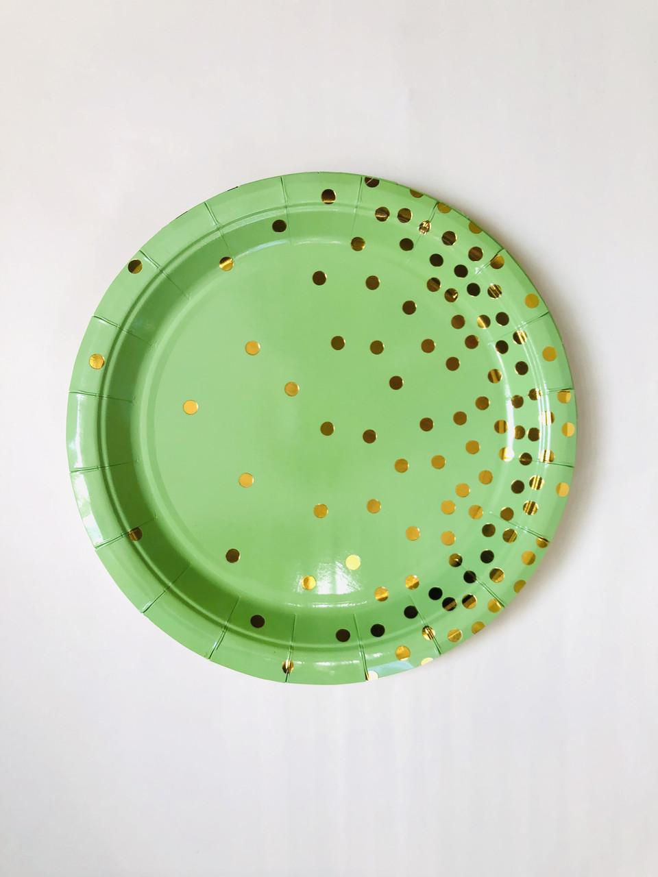Тарелки одноразовые праздничные  салатовые  Тренд