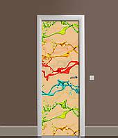 Вінілова 3Д наклейка на двері Фарби Бризки самоклеюча плівка ПВХ Абстракція Бежевий 650*2000 мм