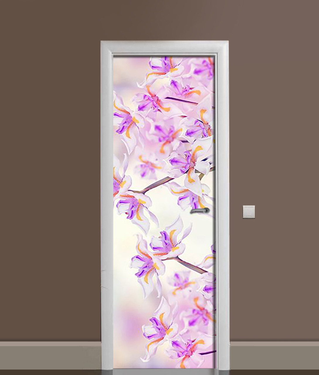 Вінілова 3Д наклейка на двері Дикі Іриси самоклеюча плівка ПВХ незвичайні Квіти Фіолетовий 650*2000 мм