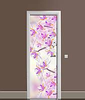 Вінілова 3Д наклейка на двері Дикі Іриси самоклеюча плівка ПВХ незвичайні Квіти Фіолетовий 650*2000 мм, фото 1