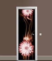 Вінілова 3Д наклейка на двері Квіти Швидкість самоклеюча плівка ПВХ лінії Абстракція Коричневий 650*2000 мм, фото 1