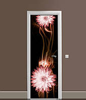 Вінілова 3Д наклейка на двері Квіти Швидкість самоклеюча плівка ПВХ лінії Абстракція Коричневий 650*2000 мм