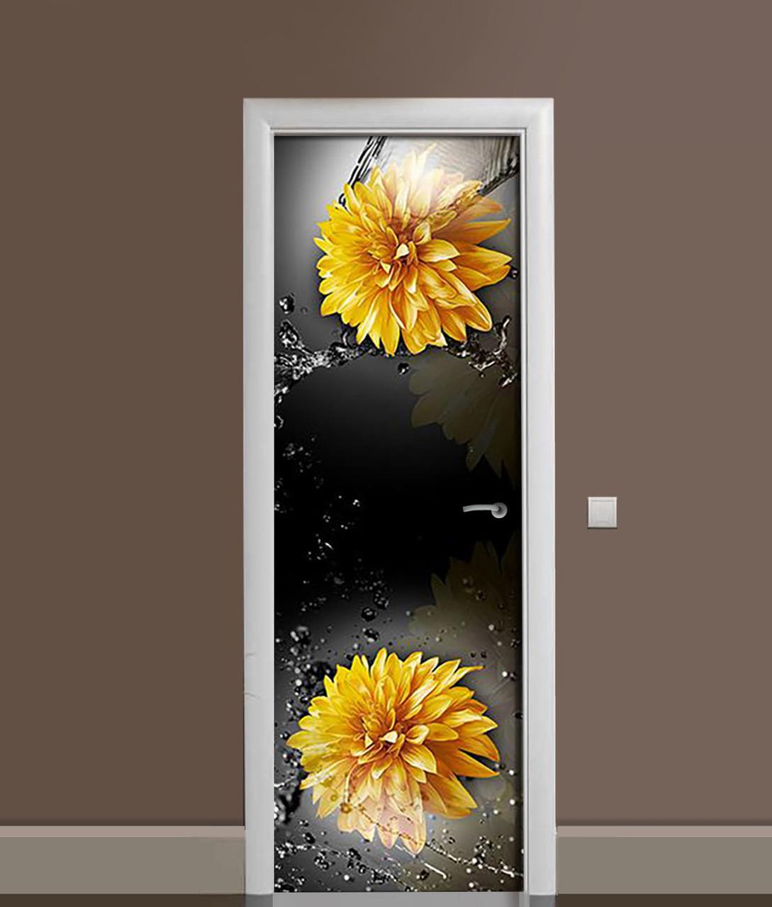 Виниловая 3Д наклейка на дверь Желтые Хризантемы (самоклеющаяся пленка ПВХ) брызги воды Цветы Черный 650*2000 мм