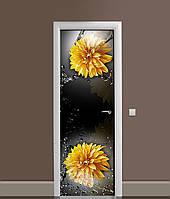 Виниловая 3Д наклейка на дверь Желтые Хризантемы (самоклеющаяся пленка ПВХ) брызги воды Цветы Черный 650*2000 мм, фото 1