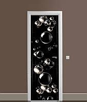 Вінілова 3Д наклейка на двері Мильні бульбашки (самоклеюча плівка ПВХ) сфери кулі Текстури Чорний 650*2000 мм