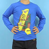 2023син Кофта с длинным рукавом для мальчика Скейт синяя тм F&D размер 4,6,10,12 лет