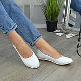 Балетки белые кожаные на низком ходу, фото 7
