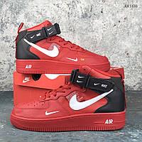 Мужские демисезонные кроссовки Nike Air Force 1 07 Mid LV8 (красные) KS 1115