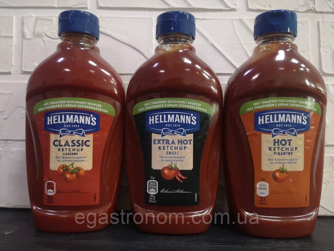 Кетчуп Хеллманс екстра хот Hellmann's 12 шт/ящ 485g (Код : 00-00003729)