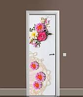 Виниловая 3Д наклейка на дверь Жемчужные бусы самоклеющаяся пленка ПВХ Цветы Белый 650*2000 мм, фото 1