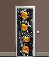 Виниловая 3Д наклейка на дверь Мандарины Брызги самоклеющаяся пленка ПВХ вода цитрусы Фрукты Черный 650*2000мм, фото 1