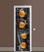 Виниловая 3Д наклейка на дверь Мандарины Брызги самоклеющаяся пленка ПВХ вода цитрусы Фрукты Черный 650*2000мм
