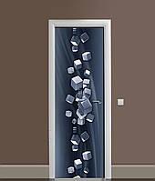 Вінілова 3Д наклейка на двері Сталеві куби самоклеюча плівка ПВХ геометрія Абстракція Сірий 650*2000 мм