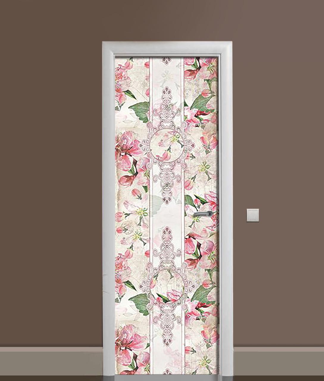 Виниловая 3Д наклейка на дверь ЦветыВинтажный орнамент самоклеющаяся пленка ПВХ узоры Розовый 650*2000 мм