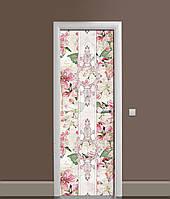 Вінілова 3Д наклейка на двері ЦветиВінтажний орнамент самоклеюча плівка ПВХ візерунки Рожевий 650*2000 мм, фото 1