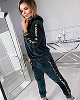 Женский спортивный костюм из бархата с капюшоном, размеры - С М Л ХЛ