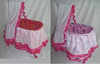 Кроватка с балдахином на колесиках для кукол (Melogo 9376 (HT) металлическая)