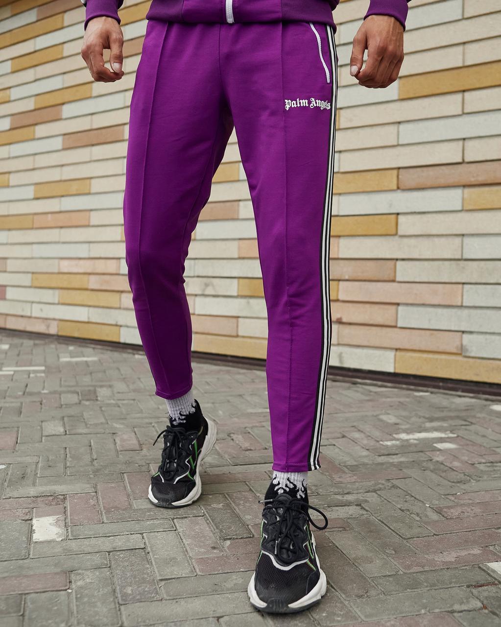 Спортивные штаны мужские в стиле Palm Angels фиолетовые