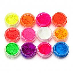Набор разноцветных неоновых флуоресцентных пигментов 12 шт