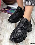 Кроссовки женские Prada Cloudbust Thunder черные, Прадо Клаундбуст кожа натуральная, фото 2