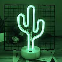 Неоновый светильник, Кактус на подставке, ночник, 15x10x32 см, зеленый цвет, 3 AA батарейки (140656)