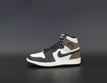 """Кроссовки Nike Air Jordan 1 Retro """"Белые/Черные/Коричневые"""", фото 2"""