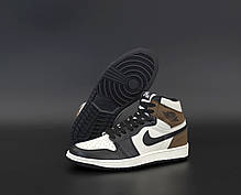 """Кроссовки Nike Air Jordan 1 Retro """"Белые/Черные/Коричневые"""", фото 3"""