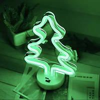 Неоновый светильник Елочка на подставке, ночник, 19*10*27 см, зеленый, 3 AA (140663)