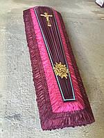 Гроб - драпировка шёлк (бордовый) сайт:  Orfey1.com