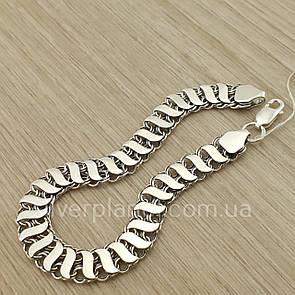 Мужской широкий двусторонний серебряный браслет Бисмарк с накладками. 20 см.