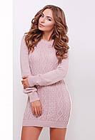 Осенние теплое вязаное платье - туника с фактурой косичек