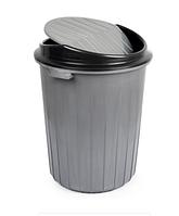 Бак мусорный 50л поворотная крышка серый