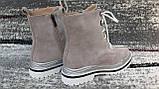 Стильні зимові жіночі черевики сіро-бежевого кольору, замшеві., фото 8