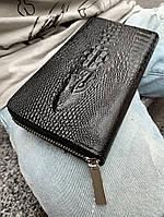 Портмоне Crocodile Мужское Брендовое Качественное PU-Кожа Черный Кошелек Чоловіче Портмоне Крокодил