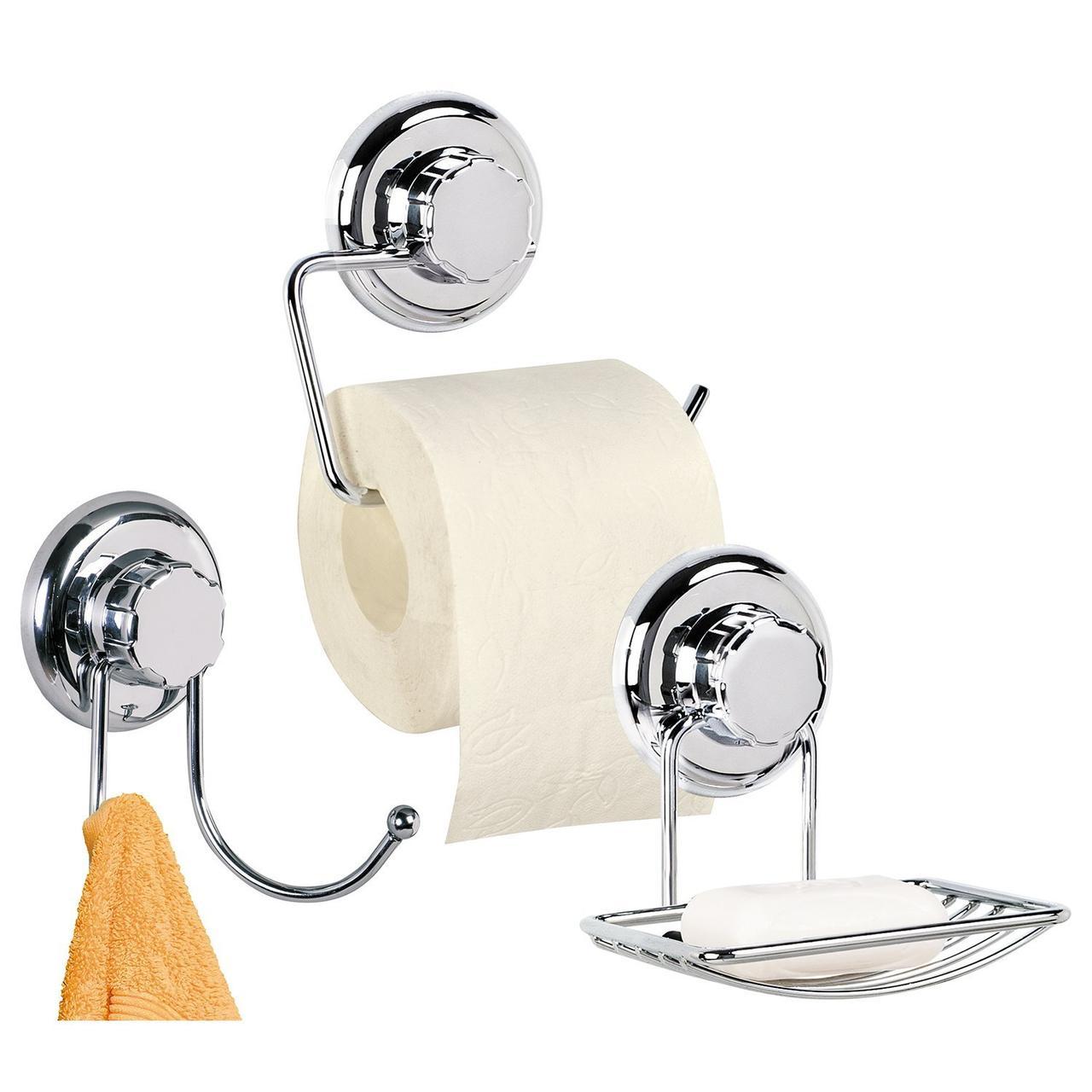 Набор для ванной Tatkraft MEGA LOCK с сильным вакуумным креплением хромированная сталь и пластик (11939)