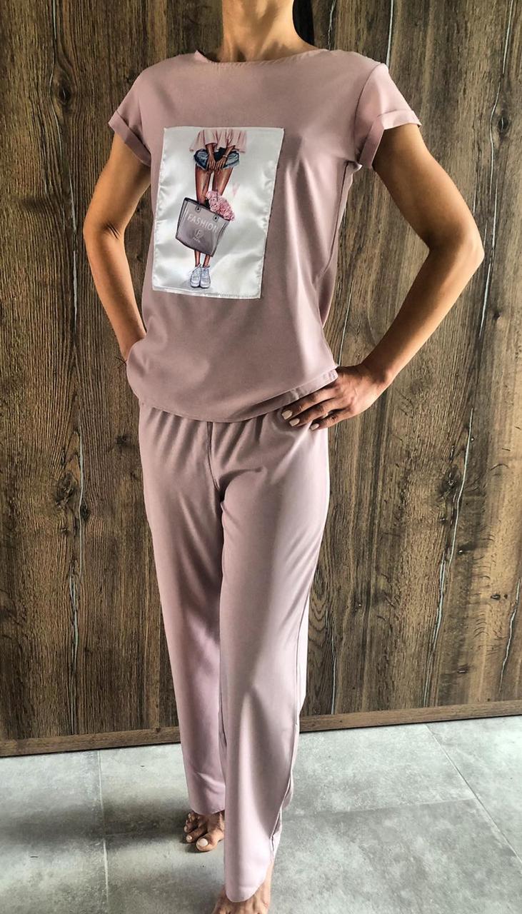 Стильная пижама штаны и футболка с аппликацией 608 .
