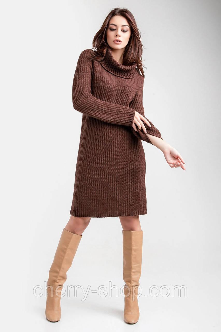 Вязаное платье - свитер крупной вязки в размере ун1(42-46), ун2(48-52)