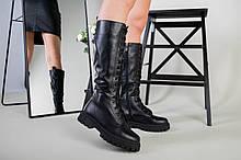 Сапоги женские кожаные черные на шнурках зимние