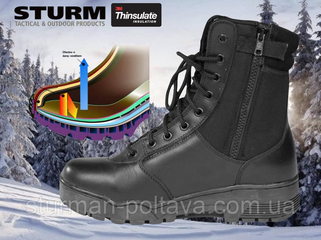 Берцы мужские зимние тактические  TACTICAL STIEFEL LEDER Mil-tec  утеплитель  Thinsulate черные  Германия