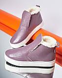 Женские зимние ботинки хайтопы Ankle slip сирень лак, фото 4