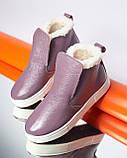 Женские зимние ботинки хайтопы Ankle slip сирень лак, фото 2