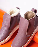 Женские зимние ботинки хайтопы Ankle slip сирень лак, фото 7
